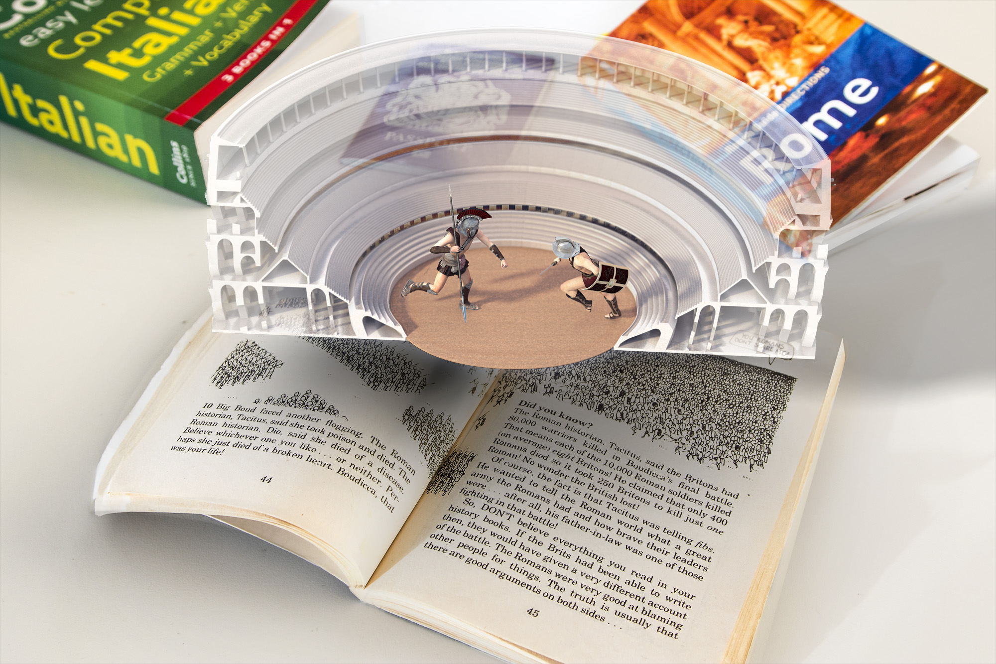 Two gladiators virtually fight in a miniature colosseum hovering over a book about Roman history