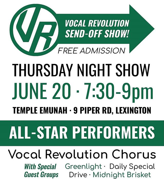 "We're gearing up for an exciting few days at the end of this week, starting with this awesome show on Thursday, hosted by @vocalrevolution -- Come see all FIVE groups who will be representing the NED on the International stage in Salt Lake City!  If you can't make it to Lexington, have no fear - we'll all be singing on another ""send-off"" show the very next day in Manchester, CT hosted by The Silk City Chorus! Check back here for more info.  @driveacappella @dailyspecialquartet  #goingtointernational #2019NEDsendofftour #isitThursdayyet #BHSSLC"
