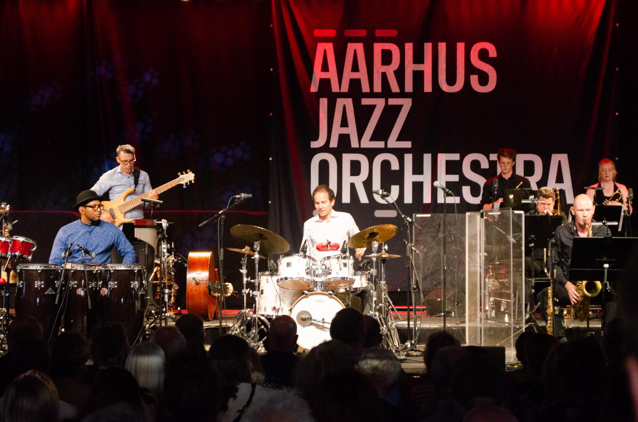 Aarhus Jazz Orchestra & Dafnis Prieto feat. Eliel Lazo & Yasser Pino. Ridehuset Swinger 2019 - Cuban Big Band Nights. Foto: Morten Corfitz Eriksen.