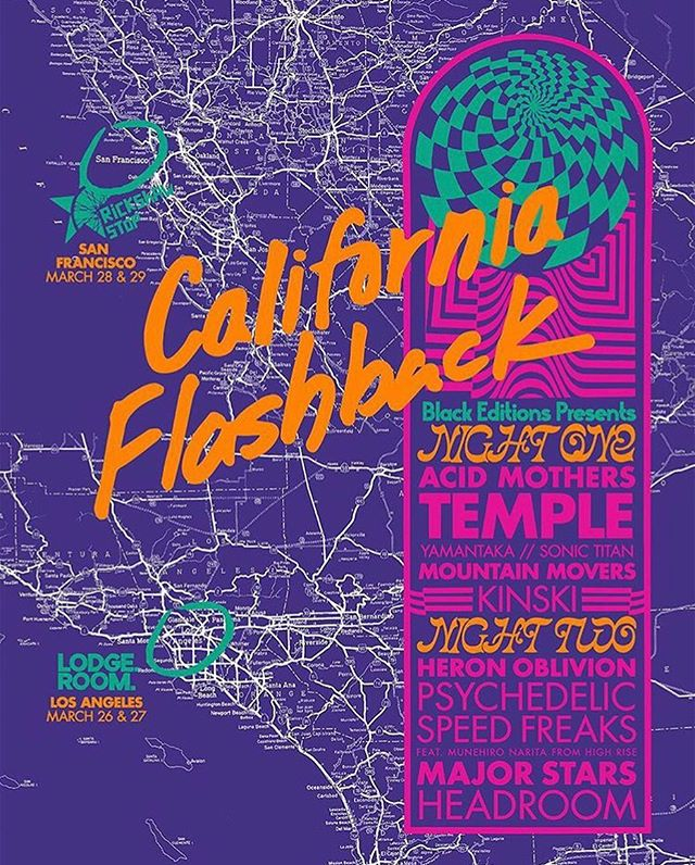 // Black Editions Presents the first ever 🌴California Flashback Festival🌴  Night 1: Acid Mothers Temple, Kinski, YAMANTAKA // Sonic Titan, Mountain Movers  Tonight at @lodgeroom 'Two nights in both Los Angeles and San Francisco inspired by the historic Tokyo Flashback albums that introduced the world to Tokyo's incredibly psychedelic underground and instigated generations of psychedelic rock freaks around the world. In the same spirit we present a rare convergence of this era's most vital psychedelic rock groups' Poster design by @dnorsen_design  @acidmotherstempleofficial @theblackeditions