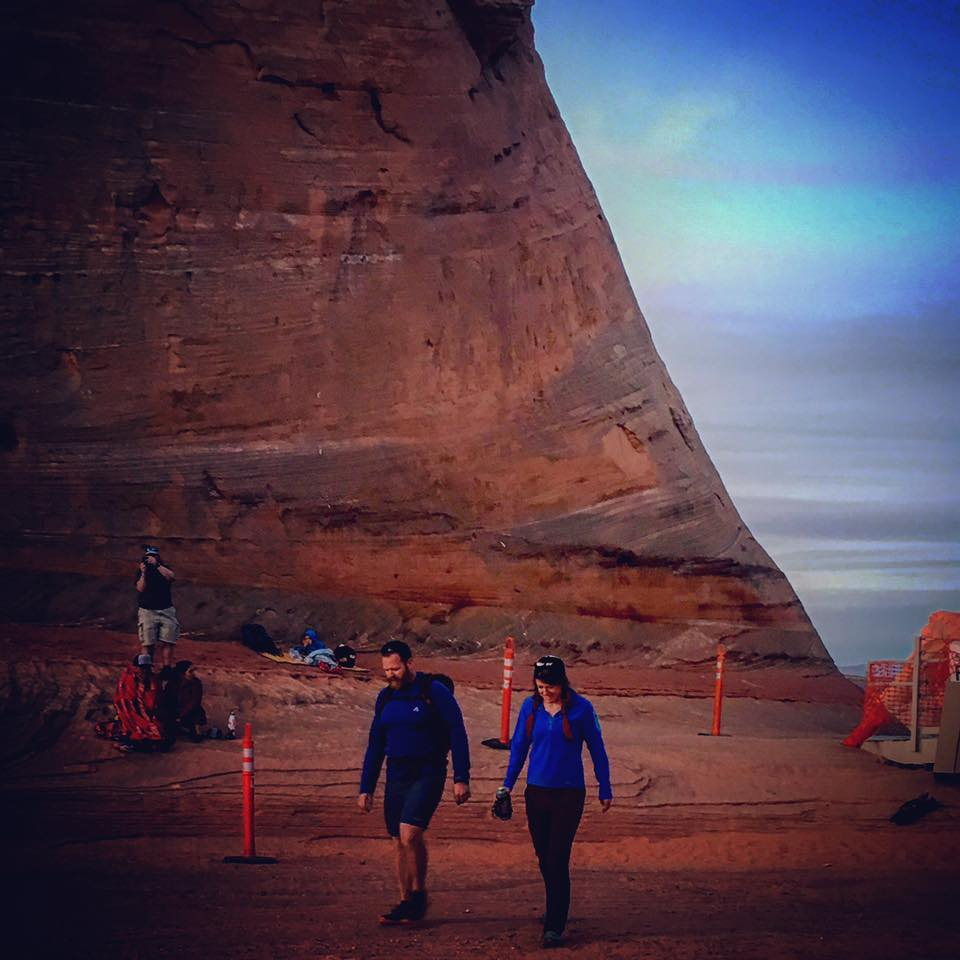 Antelope Canyon 55K, after I finished racing, I hiked back out to finish with Trav, who was 'off the couching this ultra run.' February 2016.