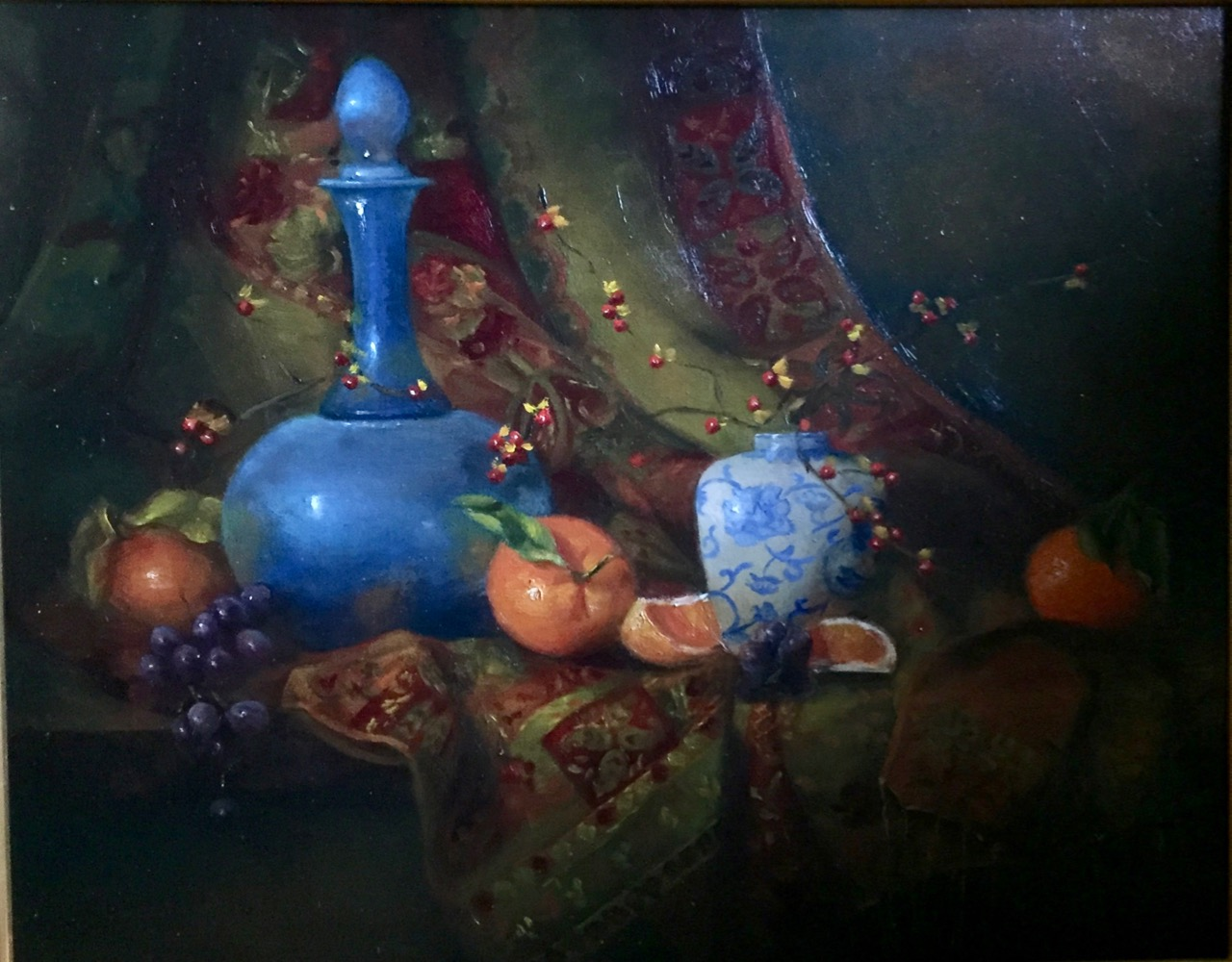 Blue Carafe and Oranges
