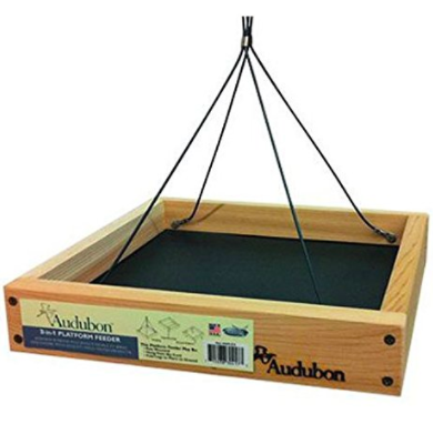 This platform feeder can be hung, pole mounted, or simply set out on the ground with its folding legs. Toss in some seed and watch the birds flock to this feeder. Constructed from wood and metal.