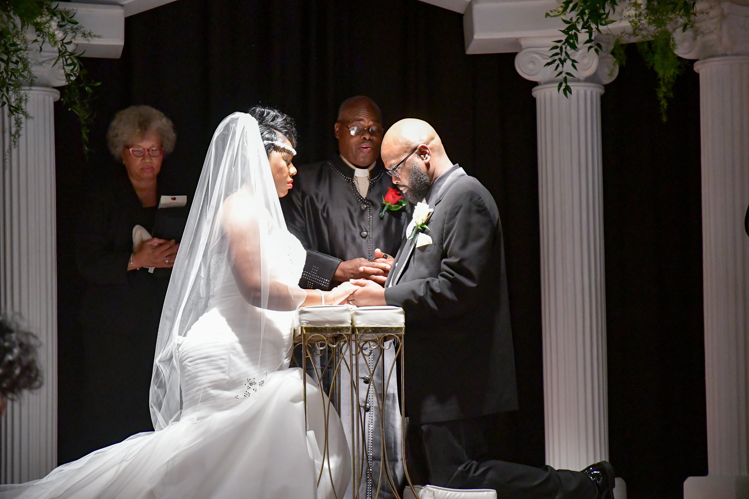 - Kneeling at the alter...