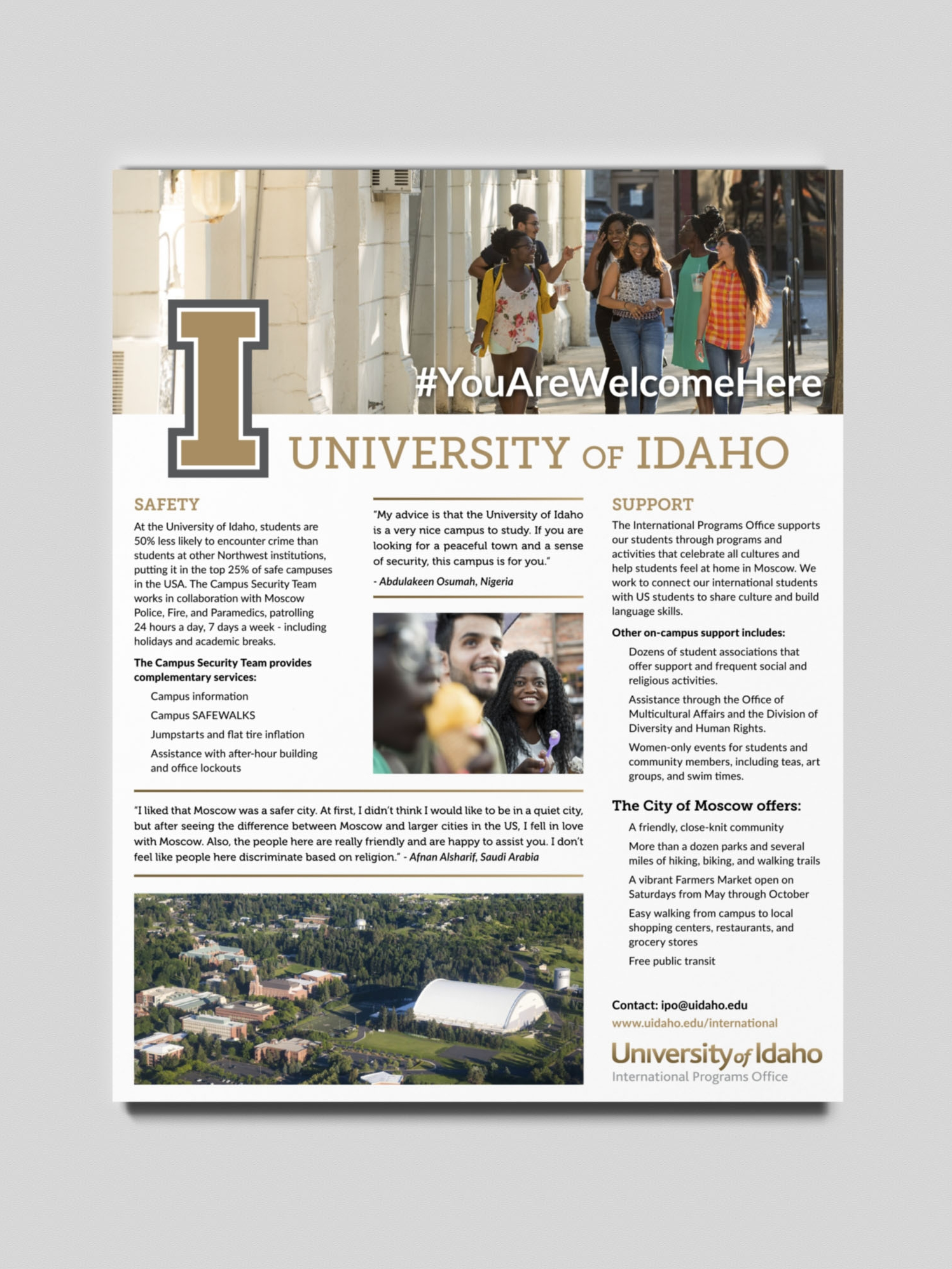 University of Idaho, International Programs Office, safety brochure.
