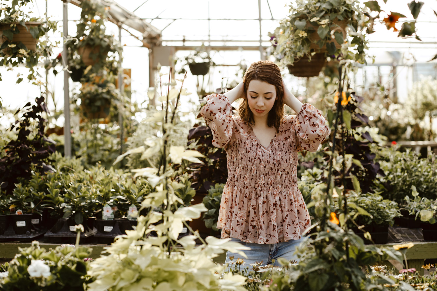 Boise Senior Photographer with Ashley at Edwards Greenhouse from Timberline High School.