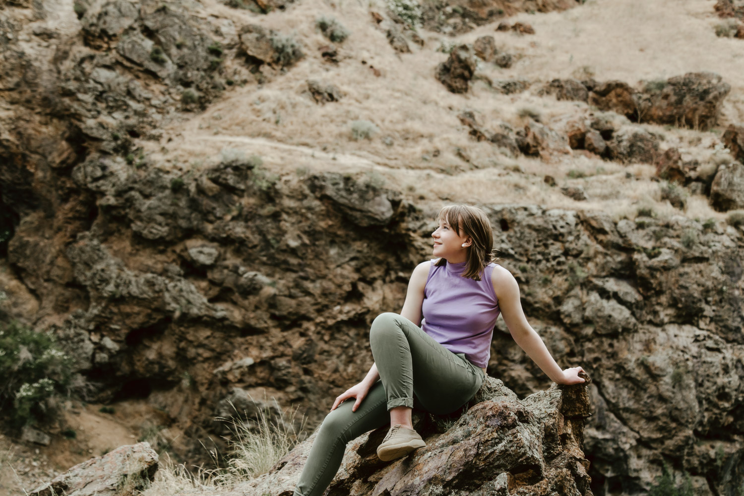 Boise Senior Photographer with Flora at Jump Creek Falls from Timberline High School.
