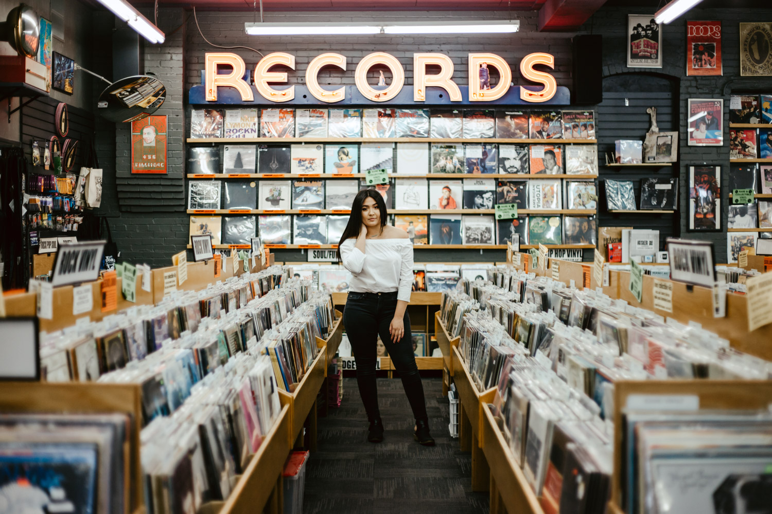 Boise Senior Photographer with Annahi from Frank Church High School in the Record Exchange.