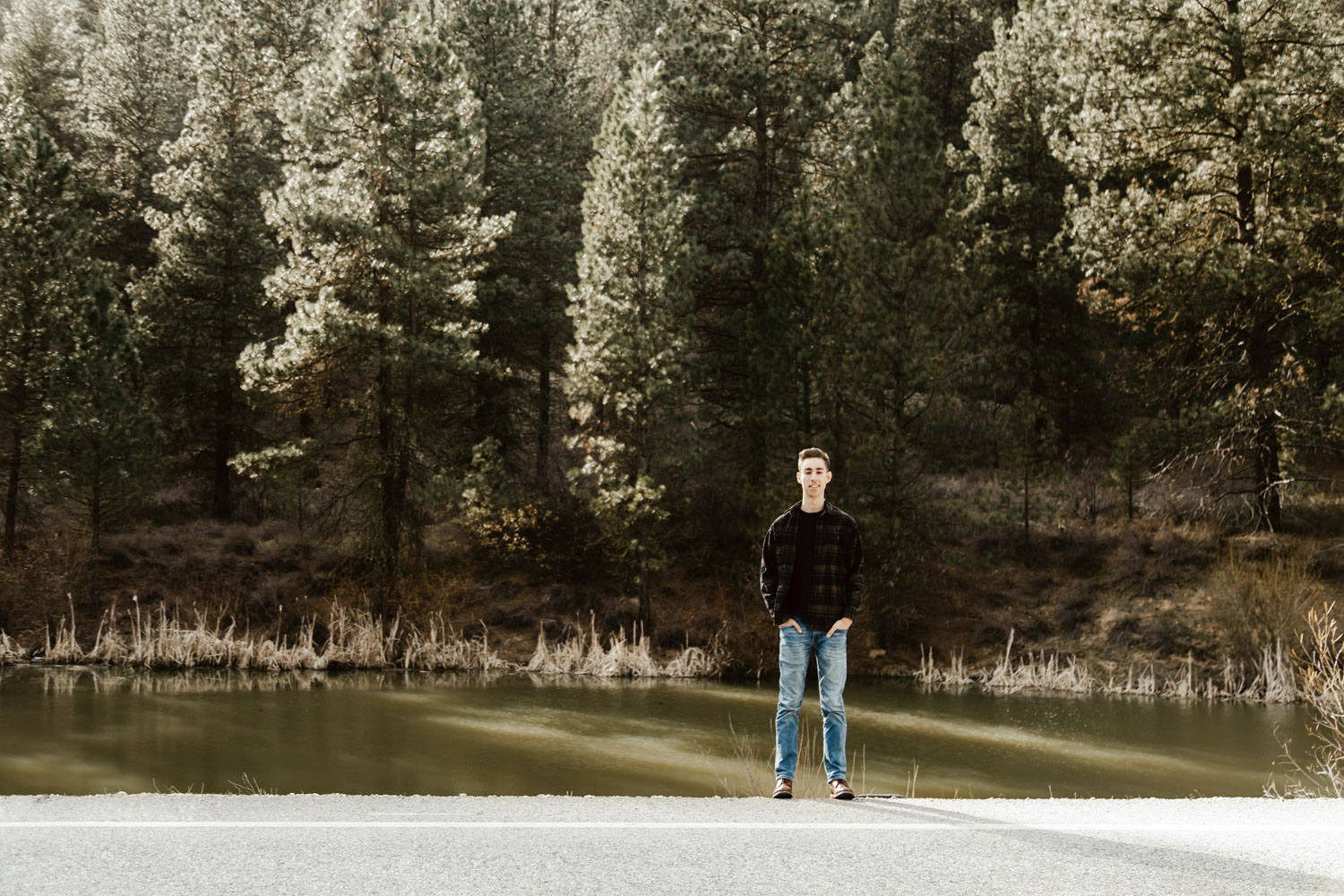 Boise Senior Photographer with Solomon in the Boise National Forest from Ridgeview High School.