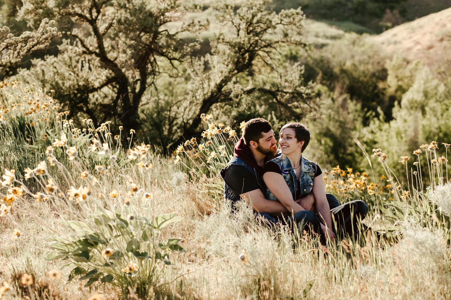Boise Engagement and Wedding Photographer at the Boise Military Reserve foothills.