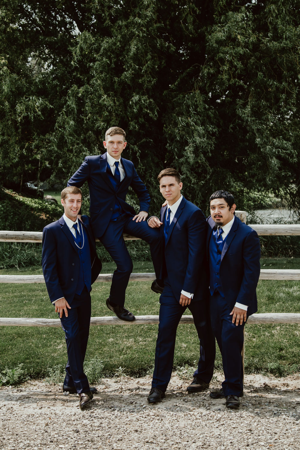 Boise Wedding and Engagement Photographer portrait of Groomsmen at the Alpine Pond Event Center.