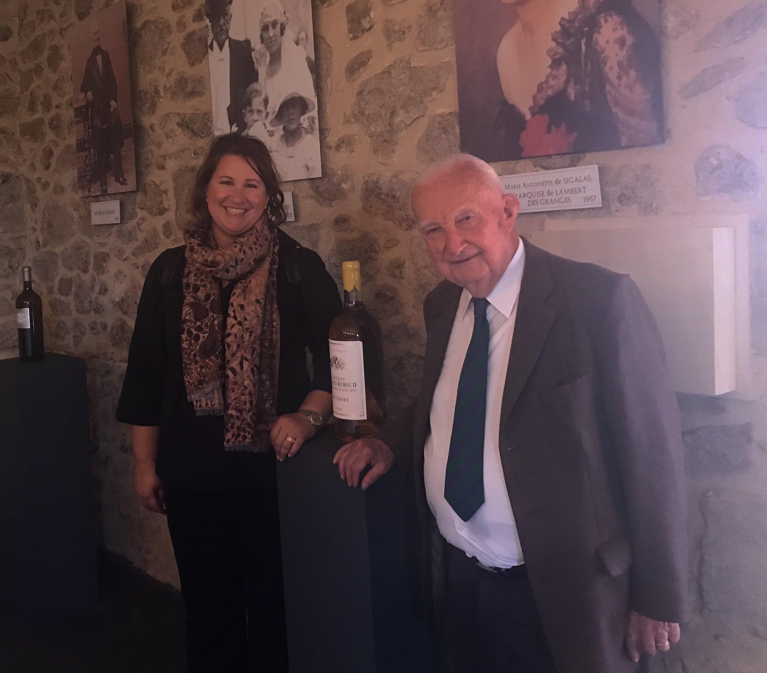 Jolene with Marquis de Lambert de Granges at Chateau Siglas Rabaud, Premier Grand Cru Classe Sauternes