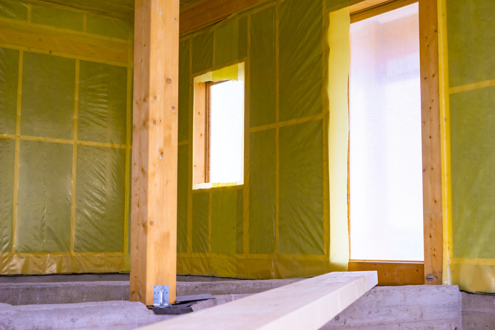 A Room with green polycover on wall