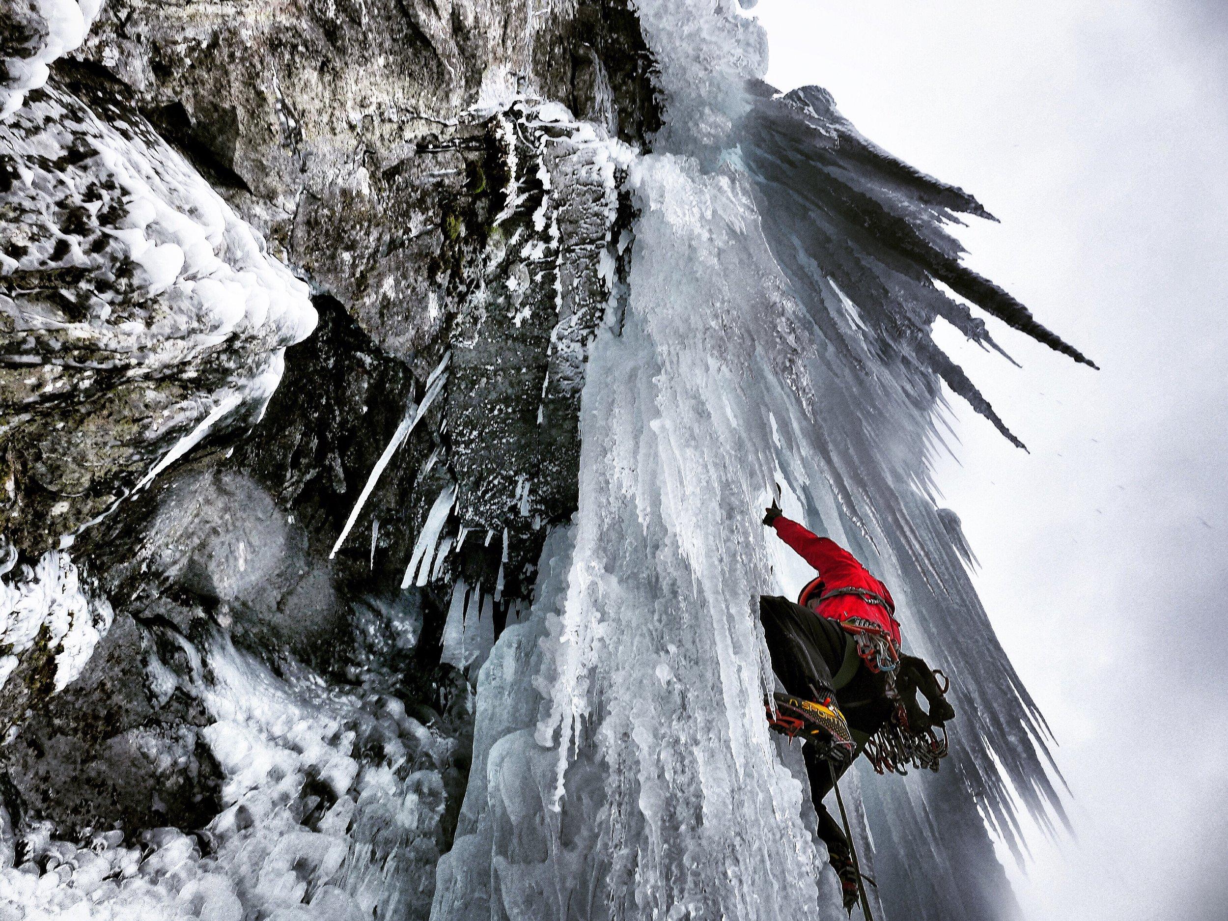 Matthias Scherer on Svartberg Fall, Gudvangen, Norway - picture Tanja Schmitt