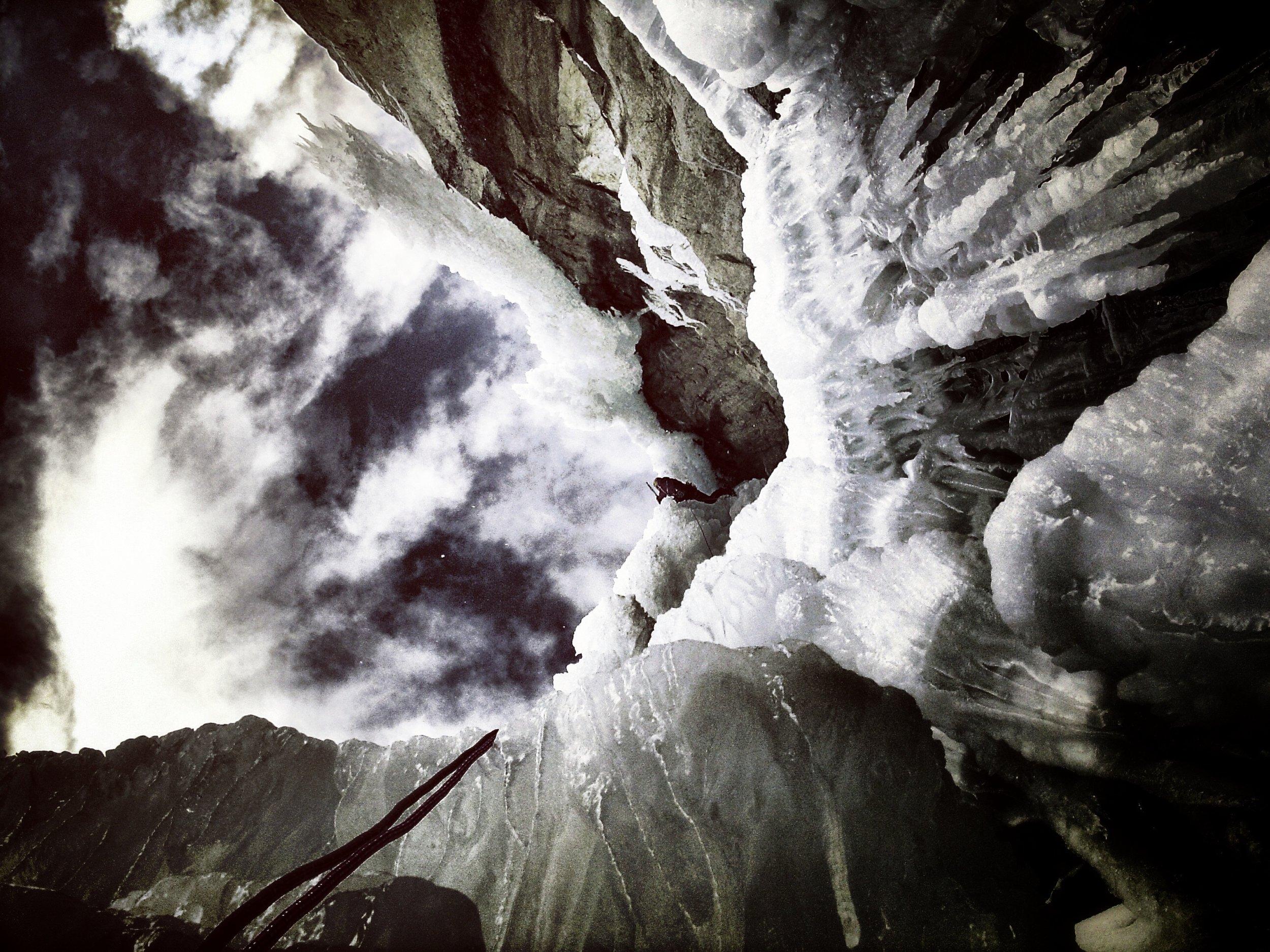 Matthias Scherer on Shiva Lingam, Argentiere, France - picture Tanja Schmitt