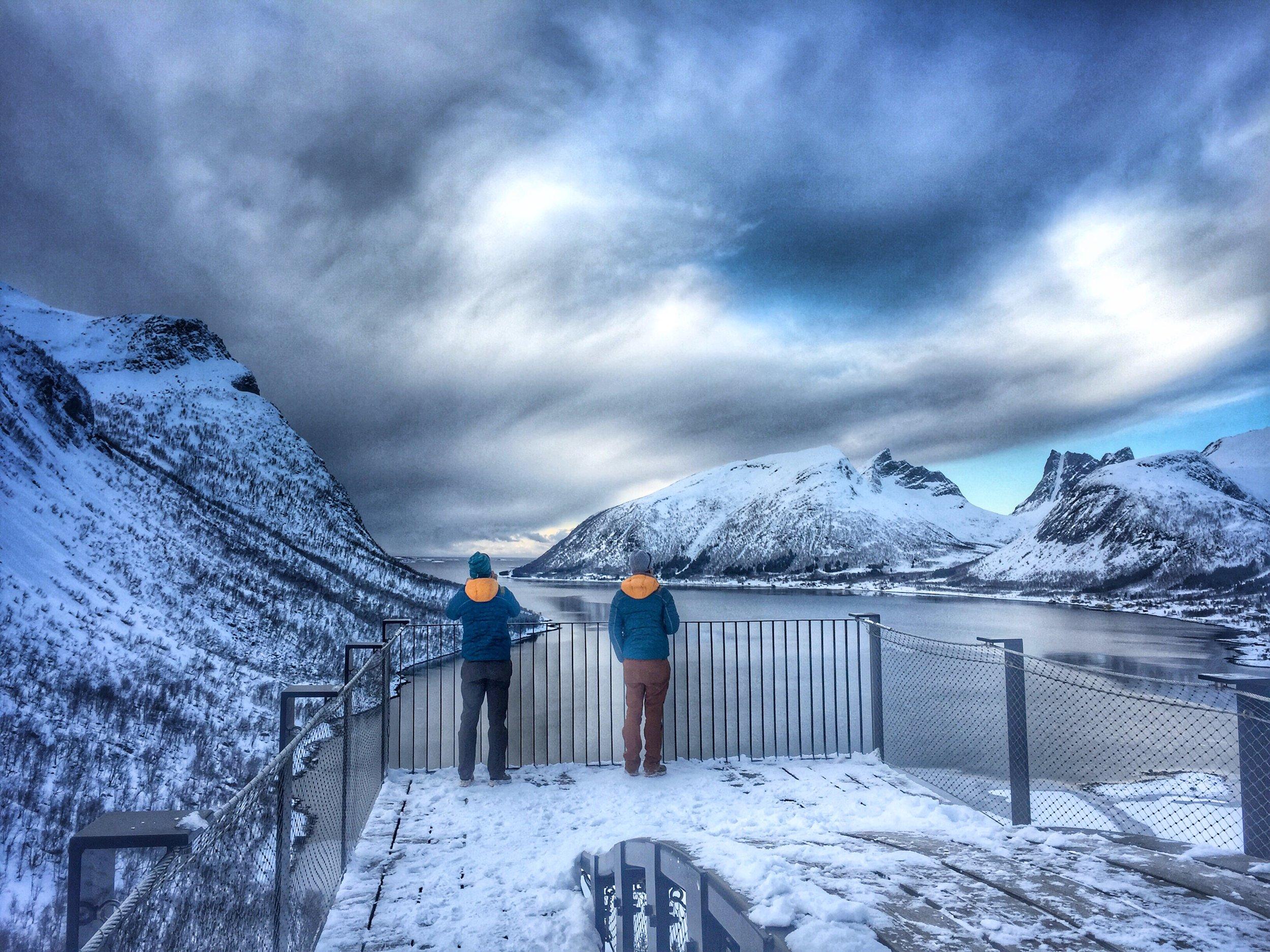 Heike and Tanja Schmitt taking in the view - Bergsbotn, Senja Island - picture Matthias Scherer