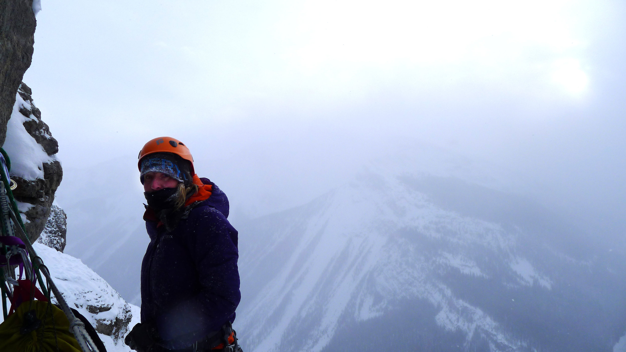 Tanja Schmitt on Bourgeau Left , -25Celsius, AB, Canada, December 2012 picture Matthias Scherer