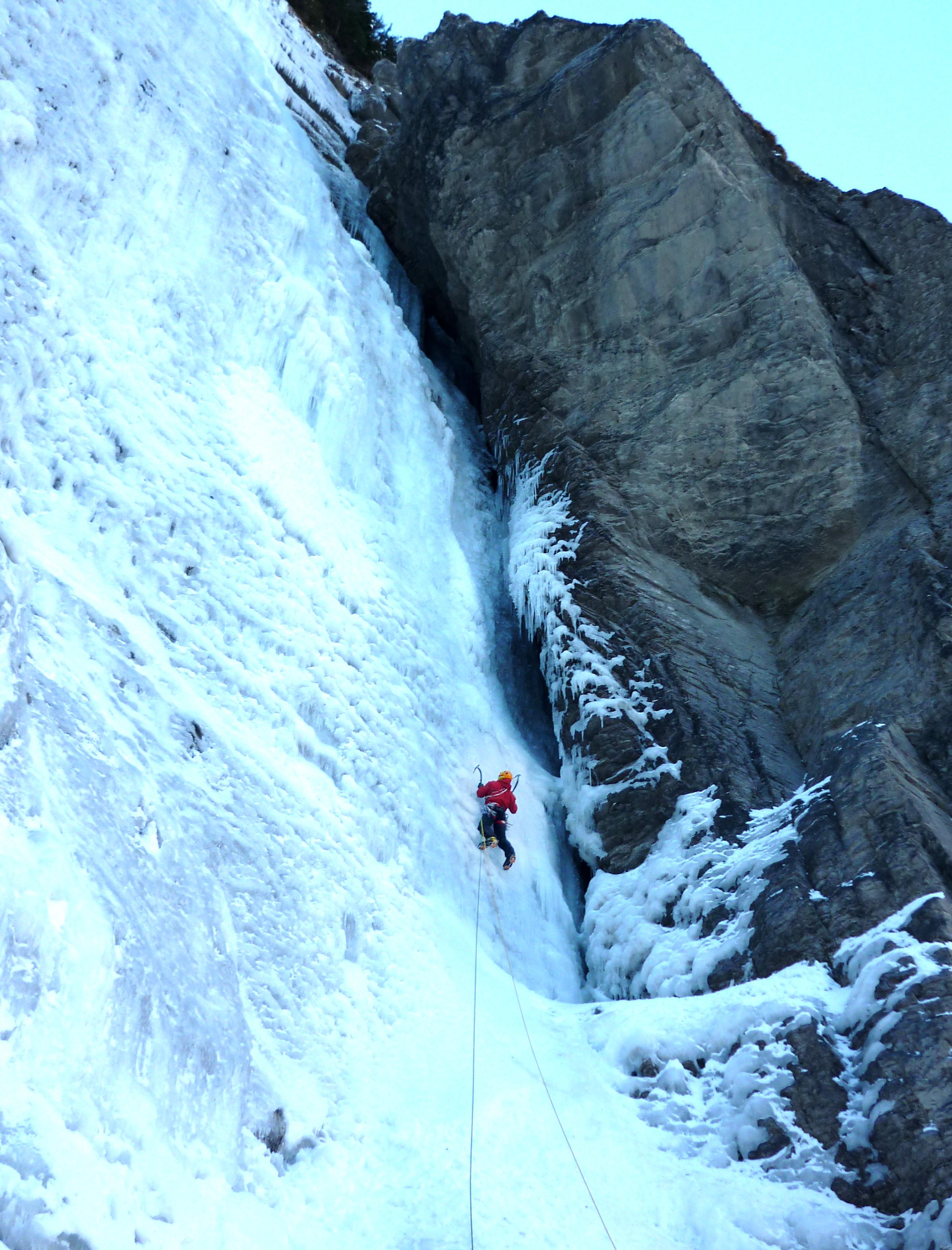 Matthias Scherer on Cascade Du Dard January 2011, Sixt, France picture Tanja Schmitt