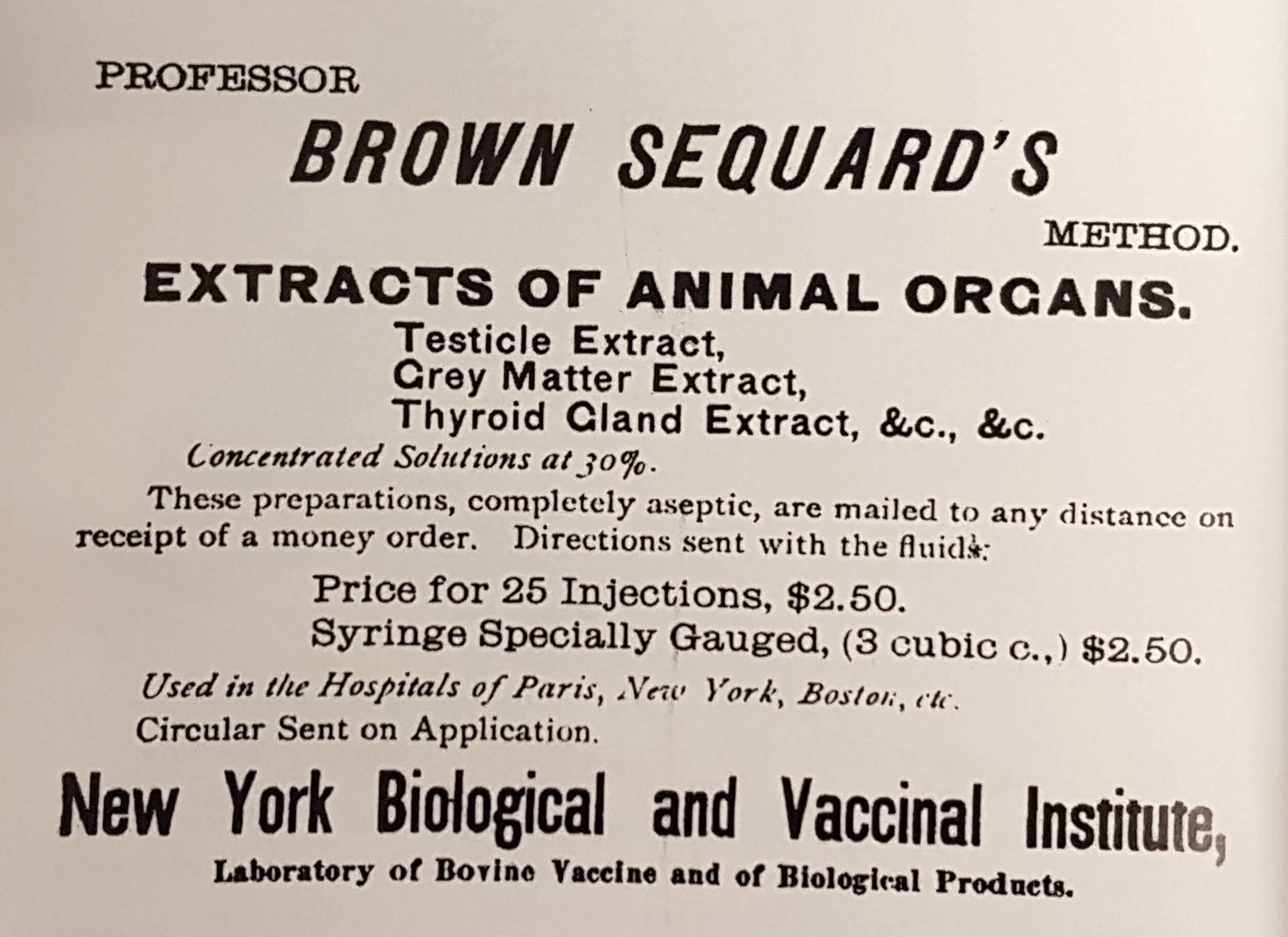 1893 advert for organ extracts