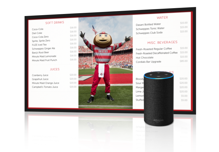 fanconnect alexa digital signage suites menu sports