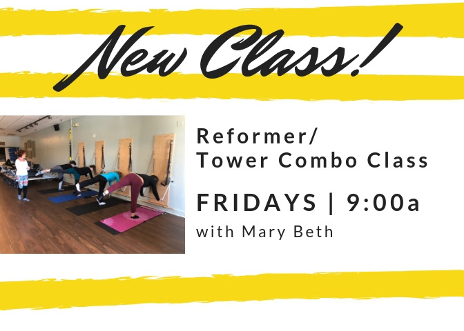 End your week with some movement with Mary Beth! We've heard your feedback and we've switched up our Friday morning schedule from 8:30 Reformer to a 9:00 start time and we've made it a combo class. Best of both worlds! Looking forward to having you in class!    Fridays at 9:00a with Mary Beth