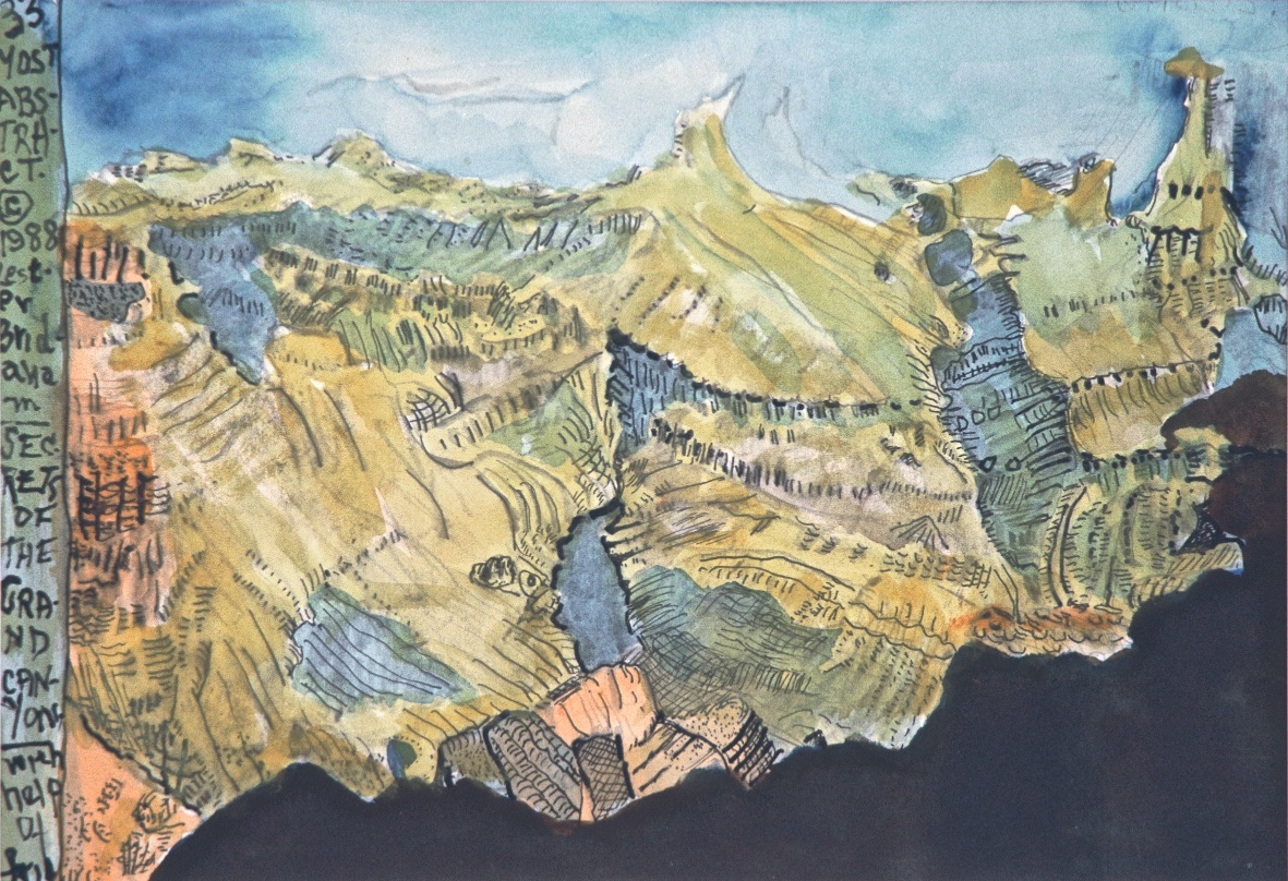 My Secrets of the Grand Canyon, abstract watercolor