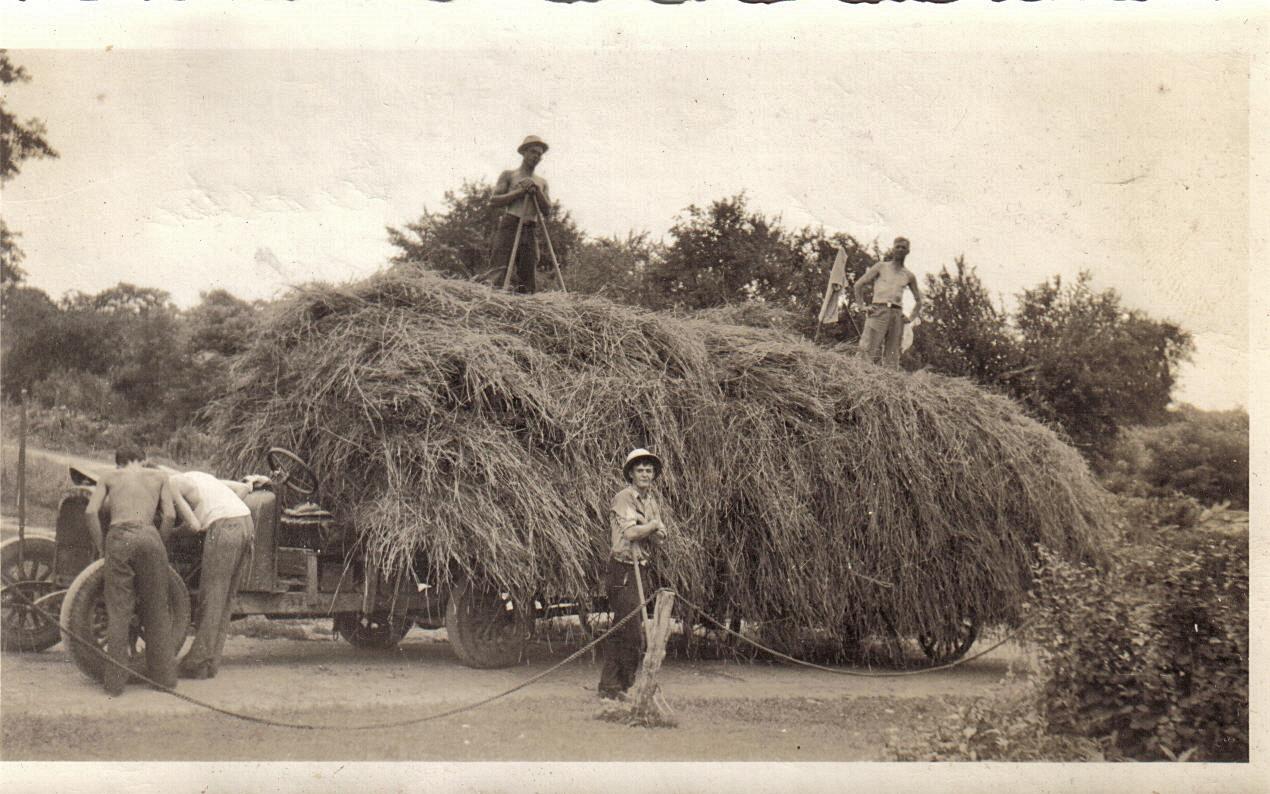 1930s Haying time.. Karl, Walter Schwalb & Kenneth.....jpg