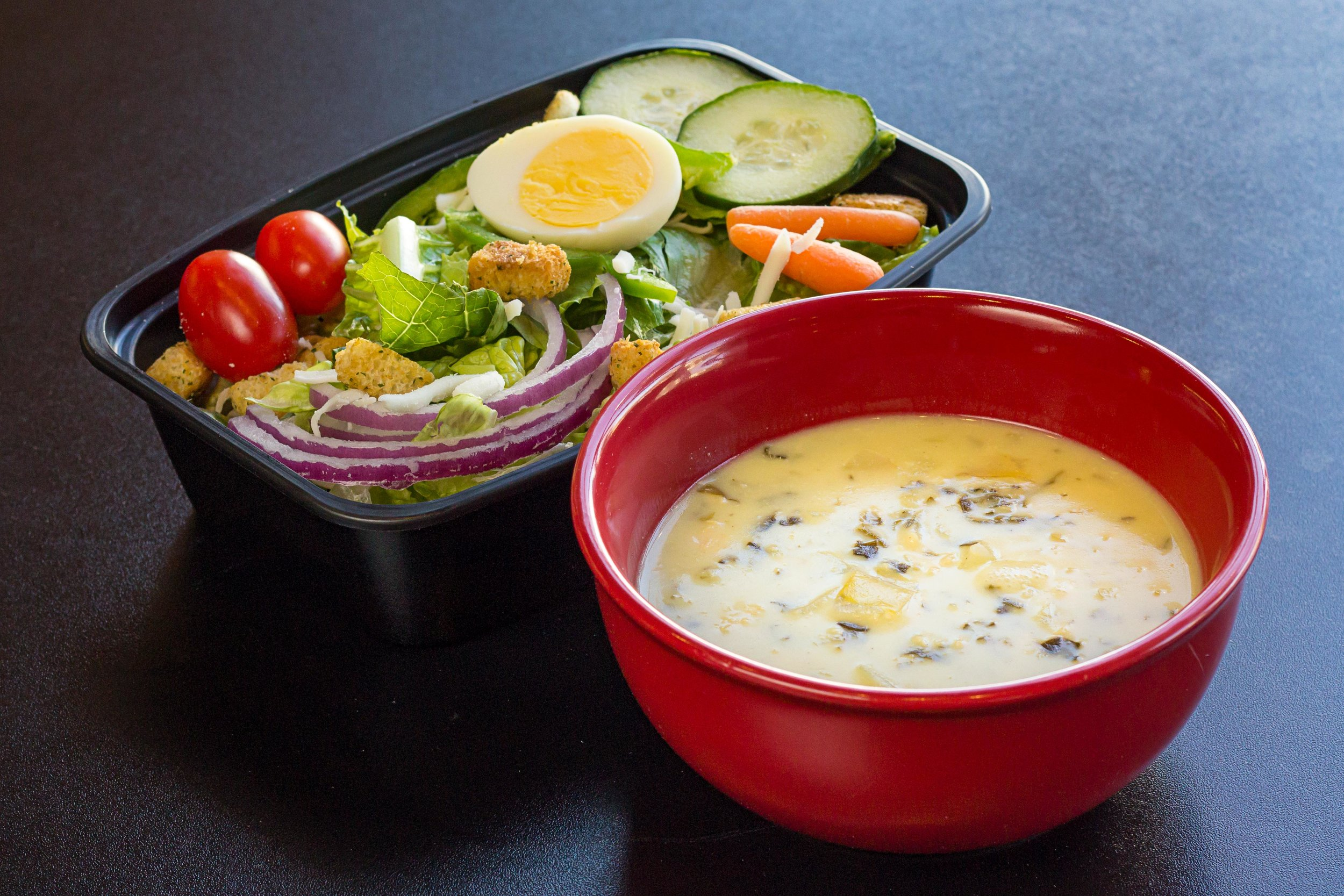 Half Garden Salad & Chicken Artichoke Florentine Soup- Soup & salad a wonderful combination, try one of our delicious stews today!