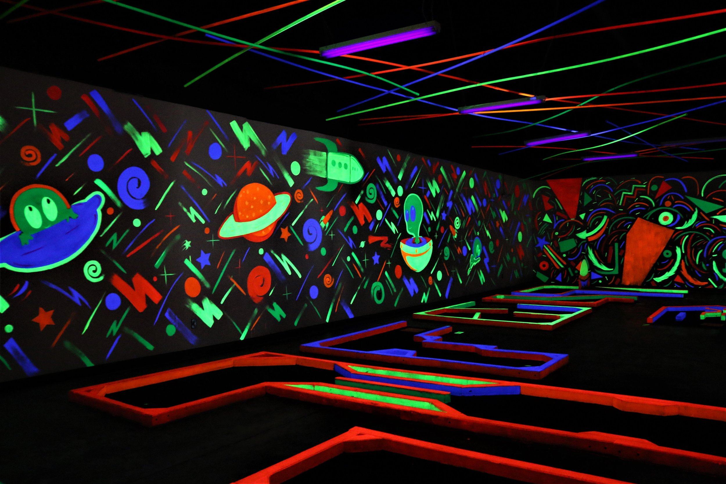 Check out our  Glow-In-The-Dark Mini Golf Course , located within our Pizza 9 restaurant!