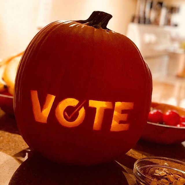 Happy Halloween! 🎃 . Repost @berlineronboard ・・・ I CARVED MY FIRST PUMPKIN EVER LAST NIGHT. 🗳🎃😃 . Have you voted early? Or do you have a plan for Election Day? Every vote matters! 💪 . #whenweallvote #happyhalloween
