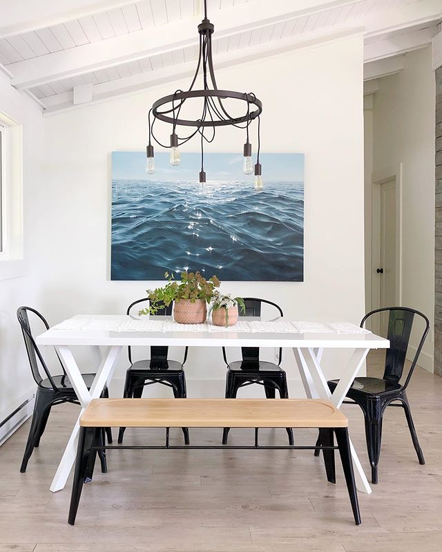 Yesterday, @katharine_burns_art piece 'Ultramarine' moved in with us at the lakehouse 💙🌊💙 Now, every seat at the table has a stunning view of the water! Thank you so much for this beauty, Katharine. We absolutely love it 😊 Please check out Katharine's brilliant painting if you haven't already. She is incredible! . . . . . . . . . . Shoutout to @herenorthereshop for the gorgeous terracotta pots 🌿 . . #commissionedart #katharineburns #waterpainting #wavepainting #lightonwater #instaart #novascotia #nsartist #oilpainting #lakehouse #coastaldecor #interiorstyling #diningroominspo #interiordesign #interiordecor #modandstanley