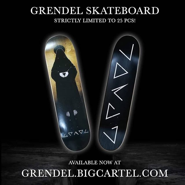 This very special & strictly limited edition high quality, full color double sided custom printed skateboard deck (logo & album cover artwork) is an unmissable item for both skater and non-skater Grendel fans! Perfect for using or ornamental use.  Orders your's today before they're gone forever at:  http://Grendel.BigCartel.Com (!! Note: This is a pre-order, which will be shipped out on October 8, 2019)