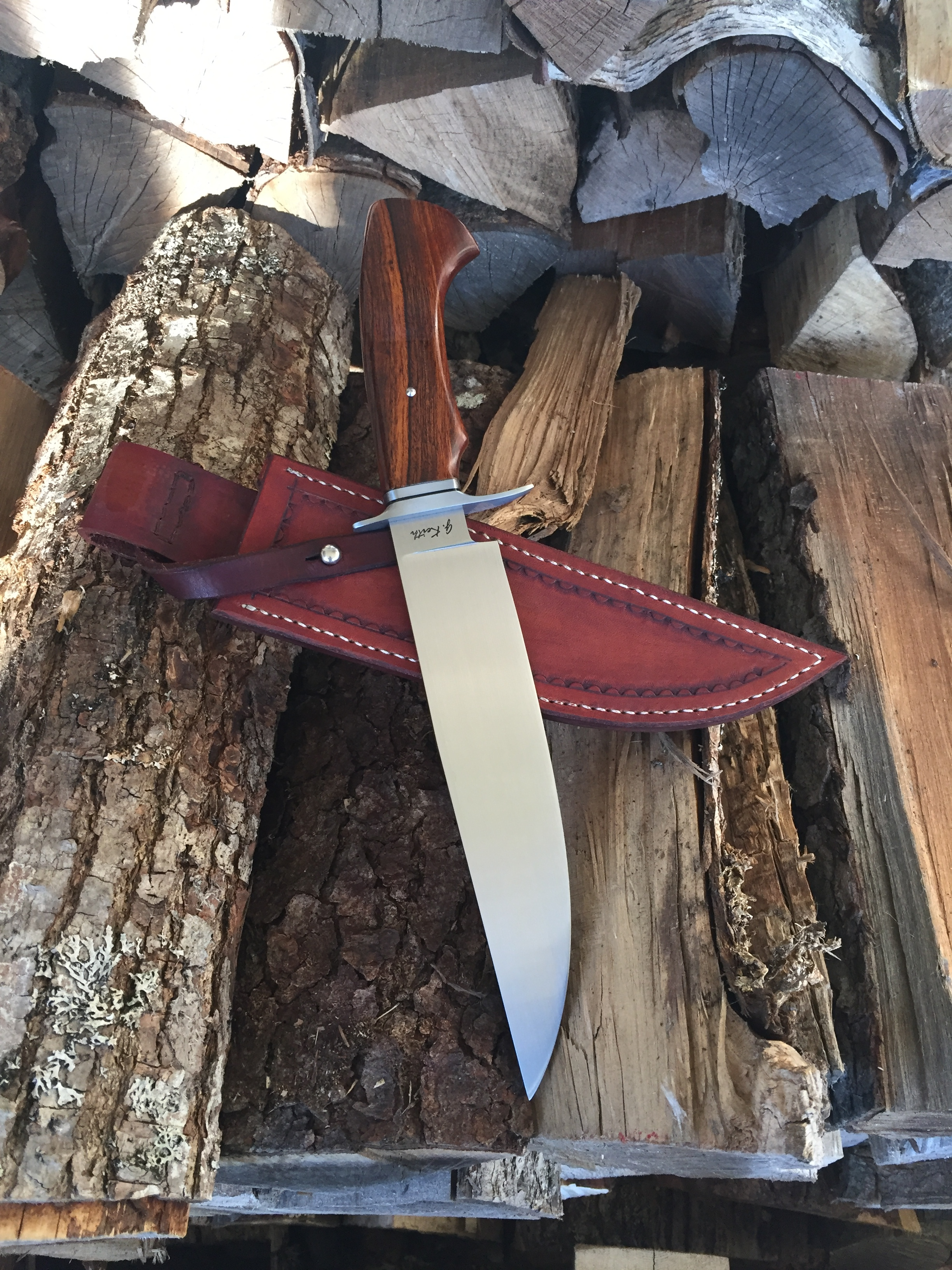 Damascus bowie 9 inch blade with sheath