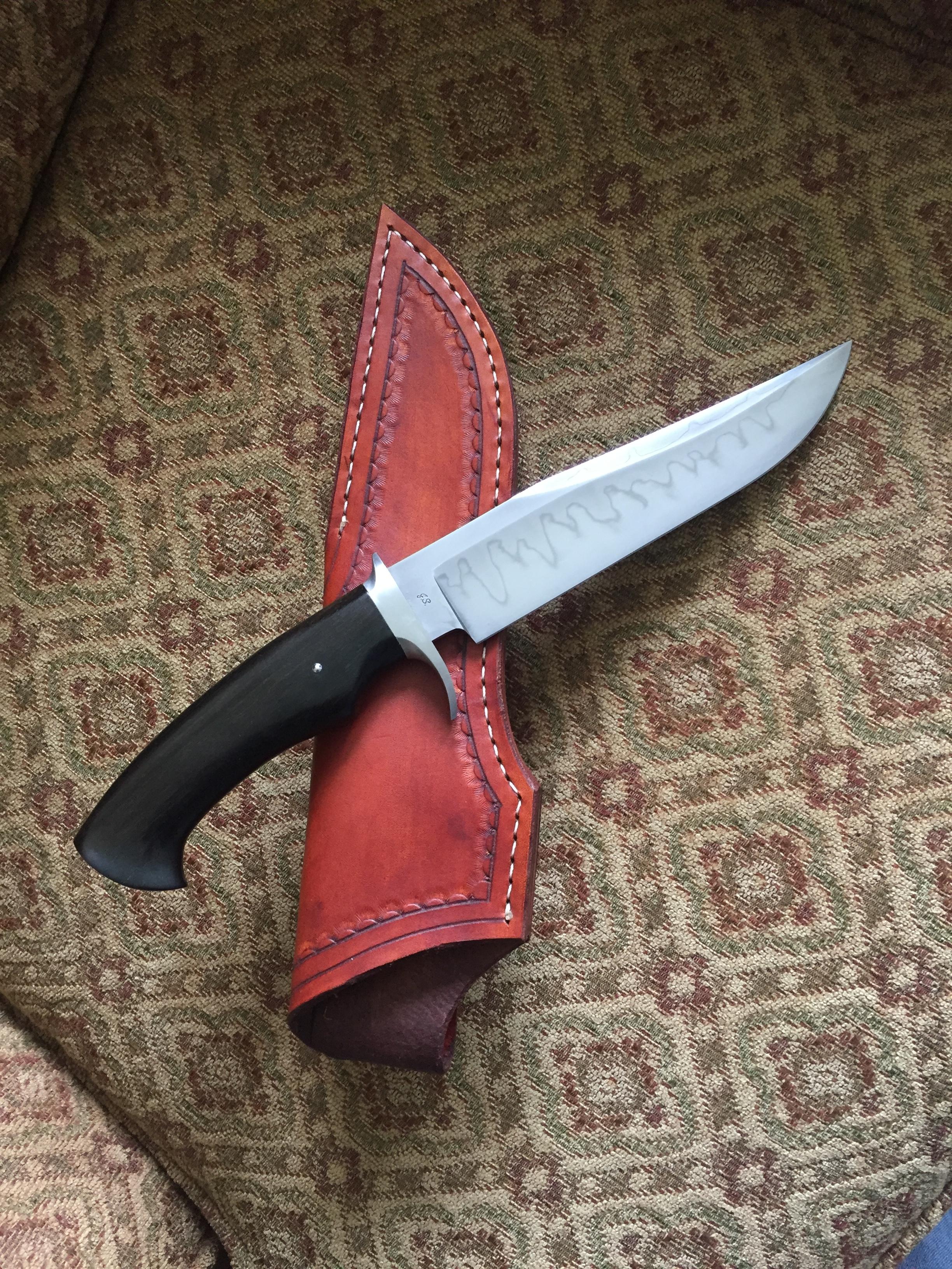 W2 steel with hamon, ebony handle with sheath