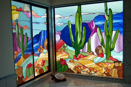 Fixed and slider window of the master bathroom also inspired by the Arizona sunset in a Fallbrook home