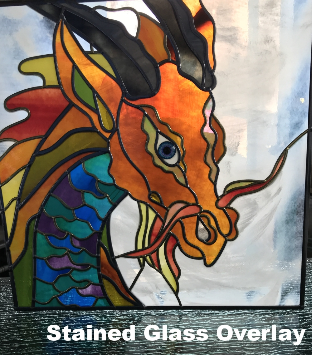 Stained Glass Overlay Dragon