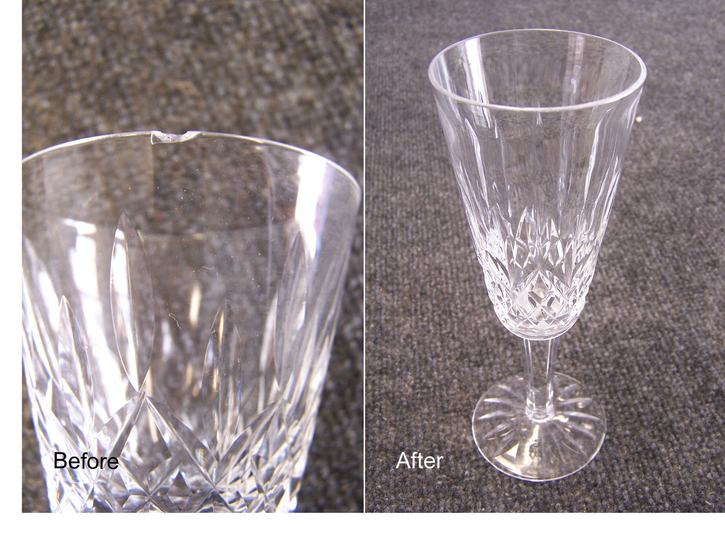 A chipped rim is repaired by sanding the glass just pass the damage, leaving a smooth and usable rim!
