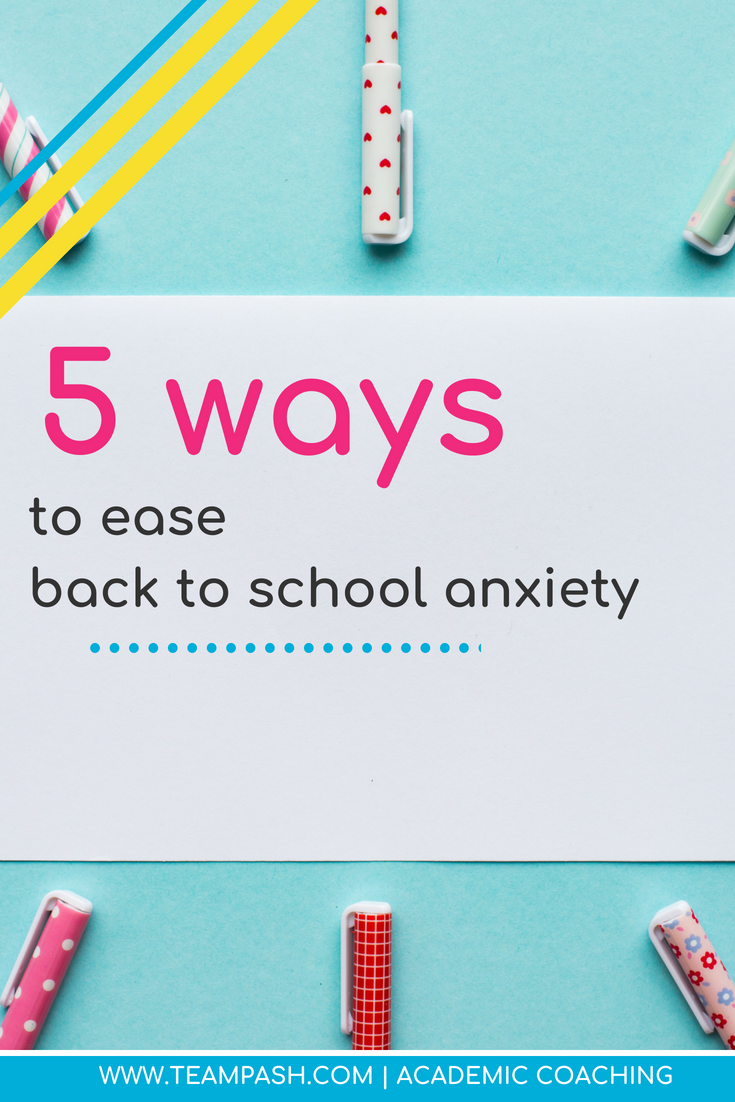 Anxiety is at an all time high for children and teens.  Even children without general anxiety can have nerves about returning to school.  Here are 5 ways to reduce back to school anxiety.  Marni Pasch Academic Coach Team Pasch Academic Caoching www.teampasch.com