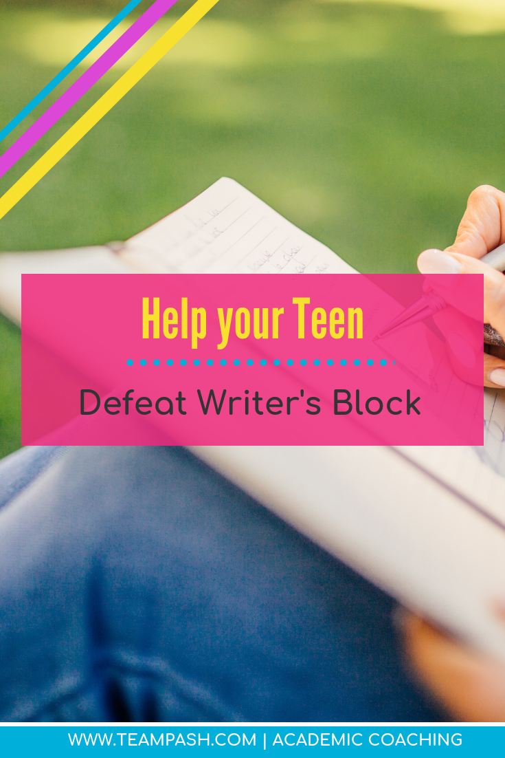 Writer's block can stall even the best writers. If your teen struggles with writing, writer's block can become an every day nuisance.  Here are 6 steps to write an essay even when the words won't come!  #writinghack #essaytips #writinghelp  Marni Pasch Team Pasch Academic Coaching www.teampasch.com