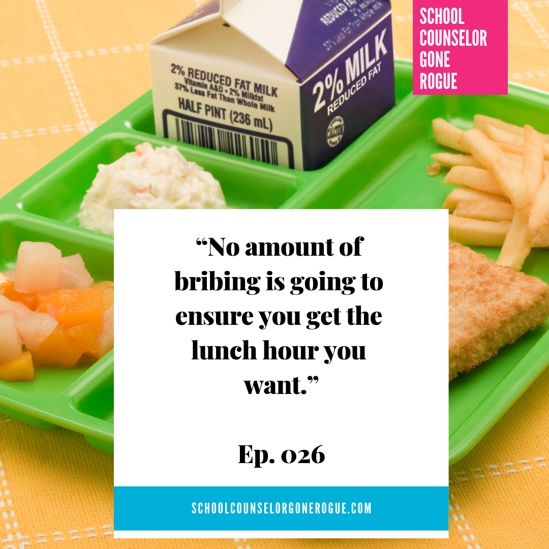 Do not bribe the school counselor. Trying to plan your life around a lunch hour is going to backfire.  This week on School Counselor Gone Rogue we talk how NOT to plan your schedule for next year.  Check out School Counselor Gone Rogue on Itunes,Stitcher or Google Play or check out the website and show notes!