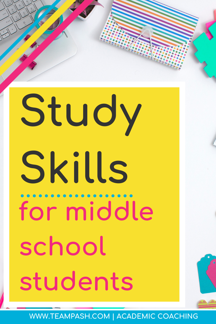 Middle school students need to have a basic understanding of these study skills to start the year successfully. Parents can start developing these skills to help their children have a more confident and helpful start in middle school.  Marni Pasch Team Pasch Academic Coaching www.teampasch.com
