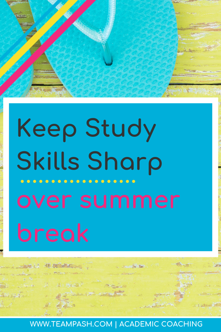 How can you keep study skills sharp over summer break? Here are 5 ways to keep studying techniques in your teenager's brain. Click here for methods to learn all year long!  Marni Pasch www.teampasch.com Academic Coach