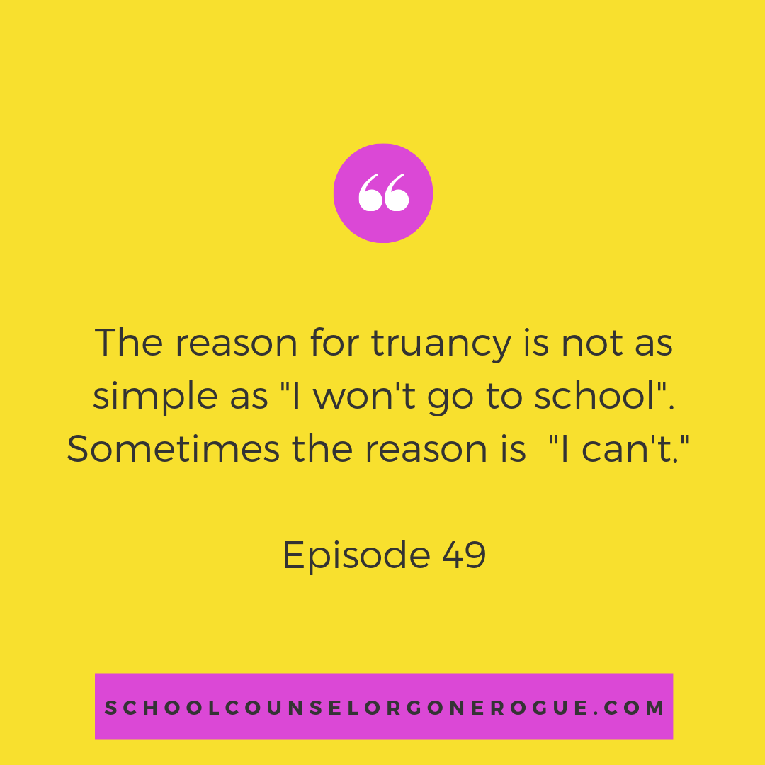 Are you struggling with getting your kiddo to school? Schools are constantly trying to get butts in the seats, but the problem is not as simple as showing up. Illness, economics, and family struggles can be deeper reasons for missing school.  This week we chat with parent advocate Miranda Lamb on how to work together to defeat absences.    Check out School Counselor Gone Rogue on Itunes,Stitcher or Google Play or check out the website and show notes!