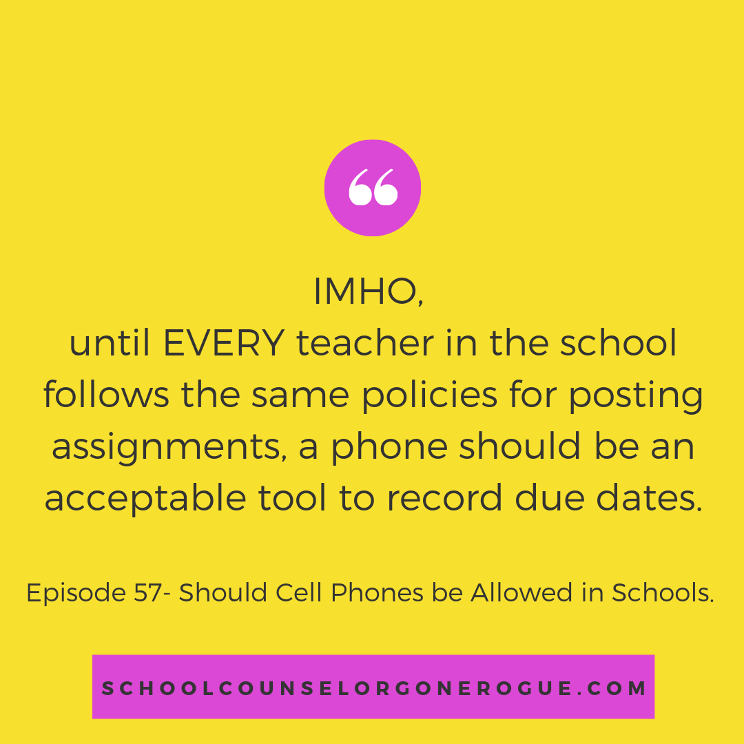 It baffles me that schools push technology, including online grade portals - but don't require teachers to use them in a consistent manner. If all assignments were uploaded to the same place, on a consistent basis, there would be no need for students to bring phones to text reminders, take photos of the board etc.  Instead, schools issue a no phone policy and students are left to piece together assignments from a hodgepodge of places resulting in a chaotic mess.   Marni Pasch - Academic Coach Team - Pasch Academic Coach  Podcast School Counselor Gone Rogue   www.teampasch.com