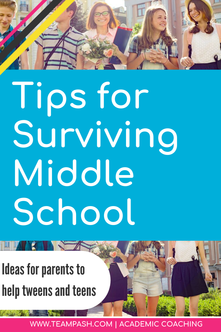 Middle school means more homework, tests and studying. How do can you help your teen handle time management and responsibility? Grab these easy tips from a trained school counselor! Academic Coach - Marni Pasch -  #middleschool