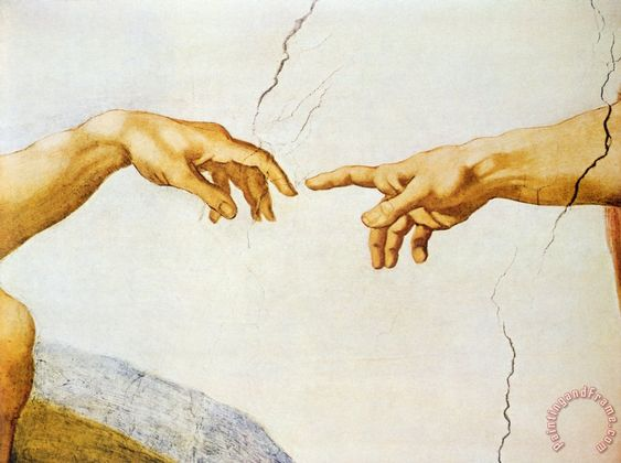 """The center portion of Michelangelo's """"Creation of Adam"""""""