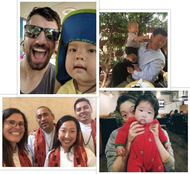 A few snapshots of my village. Top left: My brother-in-law at the zoo with my son. Top right: My dad with my son at a restaurant. Bottom left: Me with my clergy colleagues at an annual United Methodist conference. Bottom right: My sister-in-law with her new baby.