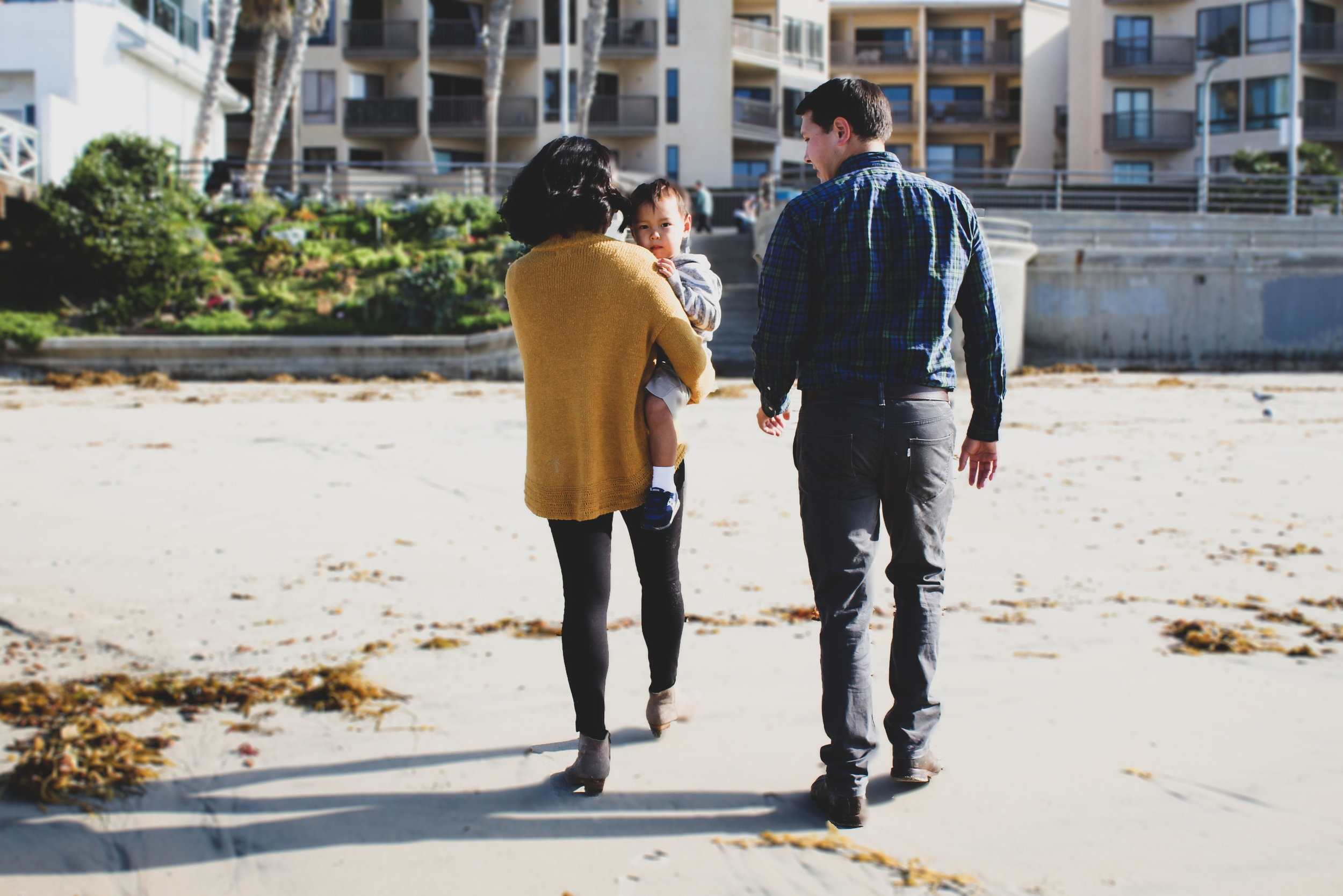 My little family taking a walk on Pacific Beach in San Diego.
