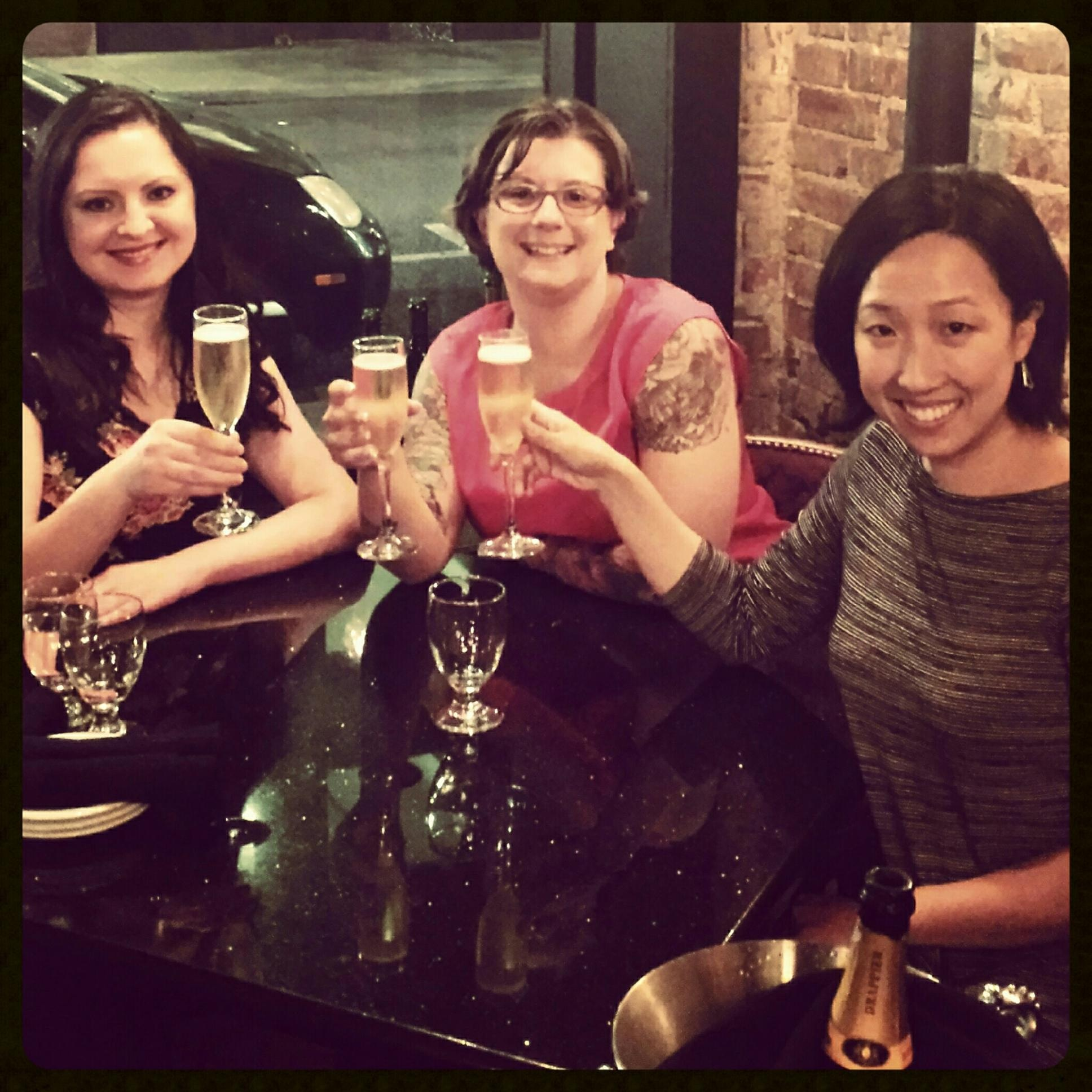 The three of us doing what we do best: wining and dining.