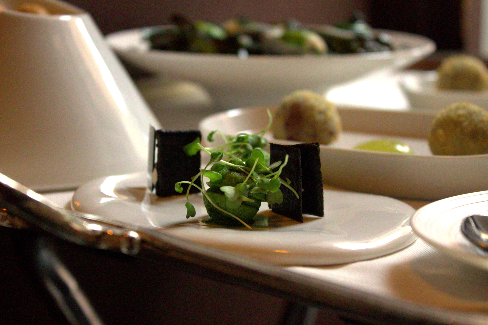 Roquette financiers with squid ink wafers